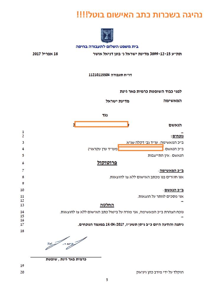 עורך דין תעבורה בחיפה - נהיגה בשכרות כתב האישום בוטל